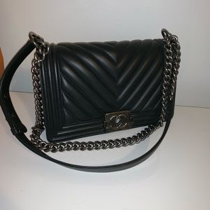 Chanel boy old med calfskin w/ ruthenium hardware